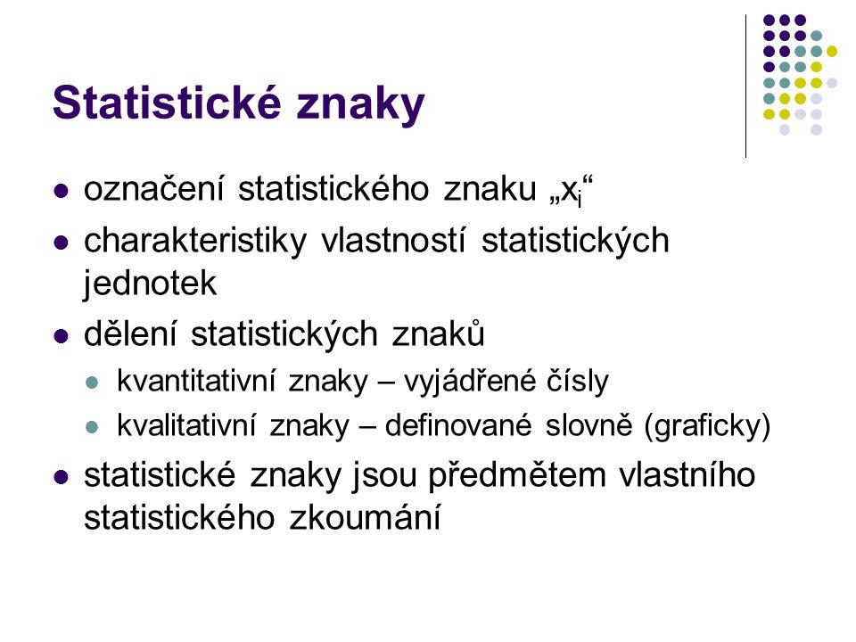 """Statistické znaky označení statistického znaku """"xi"""
