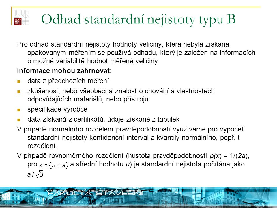Odhad standardní nejistoty typu B