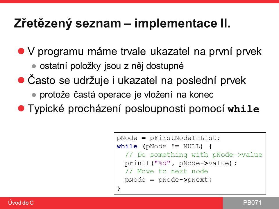 Zřetězený seznam – implementace II.