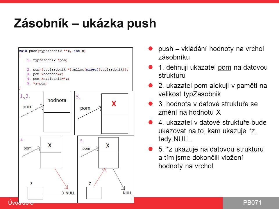 Zásobník – ukázka push push – vkládání hodnoty na vrchol zásobníku