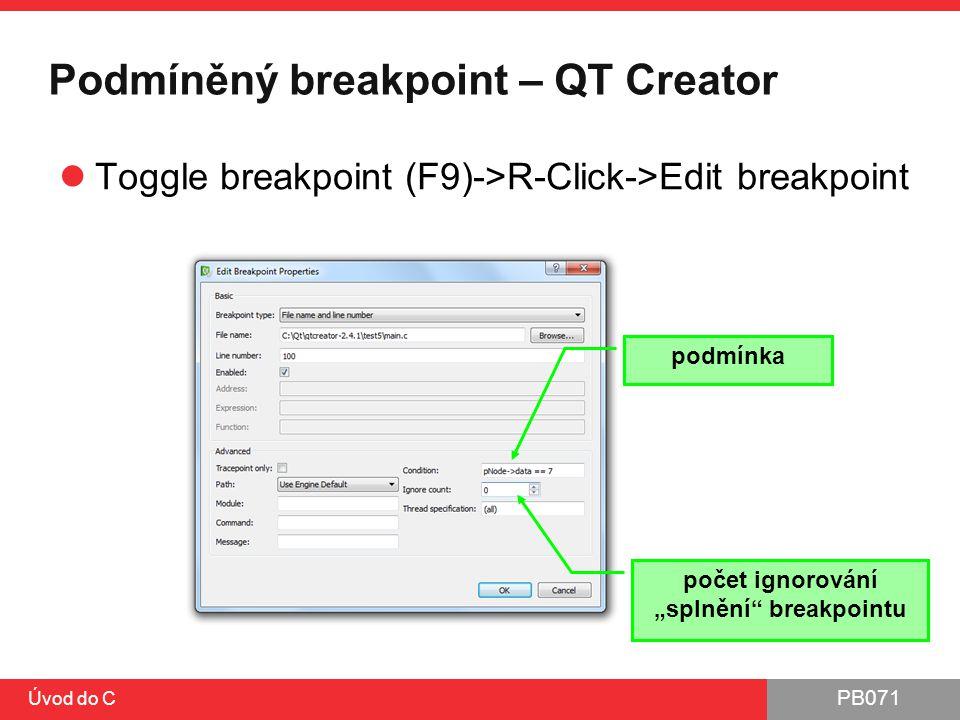 Podmíněný breakpoint – QT Creator