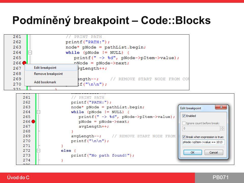 Podmíněný breakpoint – Code::Blocks