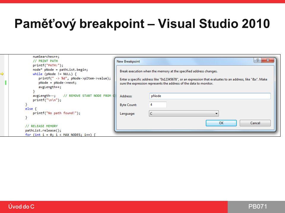 Paměťový breakpoint – Visual Studio 2010