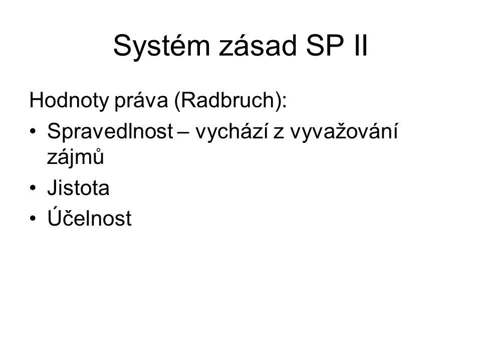 Systém zásad SP II Hodnoty práva (Radbruch):
