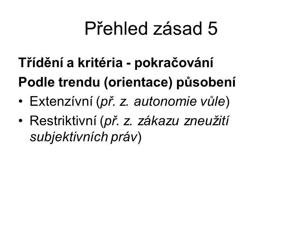 Přehled zásad 5 Třídění a kritéria - pokračování