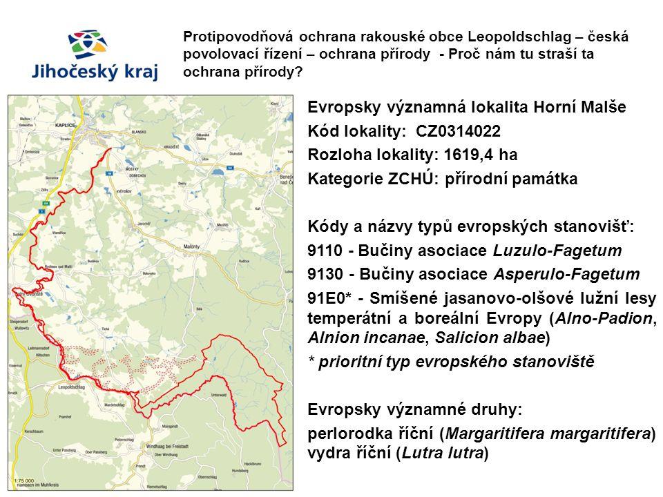 Evropsky významná lokalita Horní Malše Kód lokality: CZ0314022