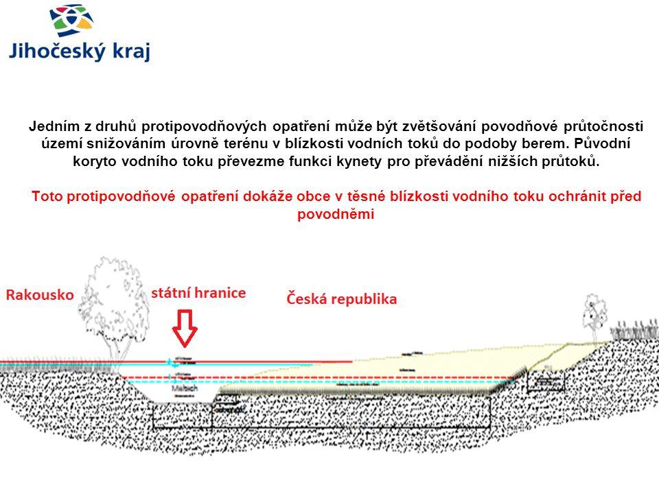 Jedním z druhů protipovodňových opatření může být zvětšování povodňové průtočnosti území snižováním úrovně terénu v blízkosti vodních toků do podoby berem.