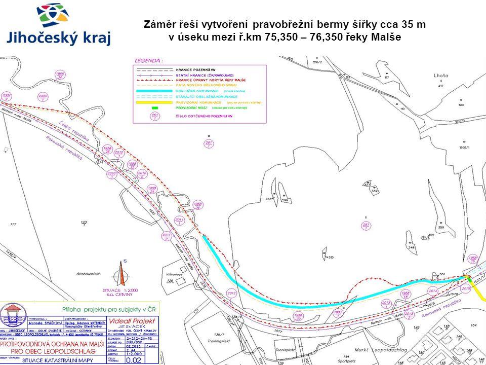 Záměr řeší vytvoření pravobřežní bermy šířky cca 35 m v úseku mezi ř