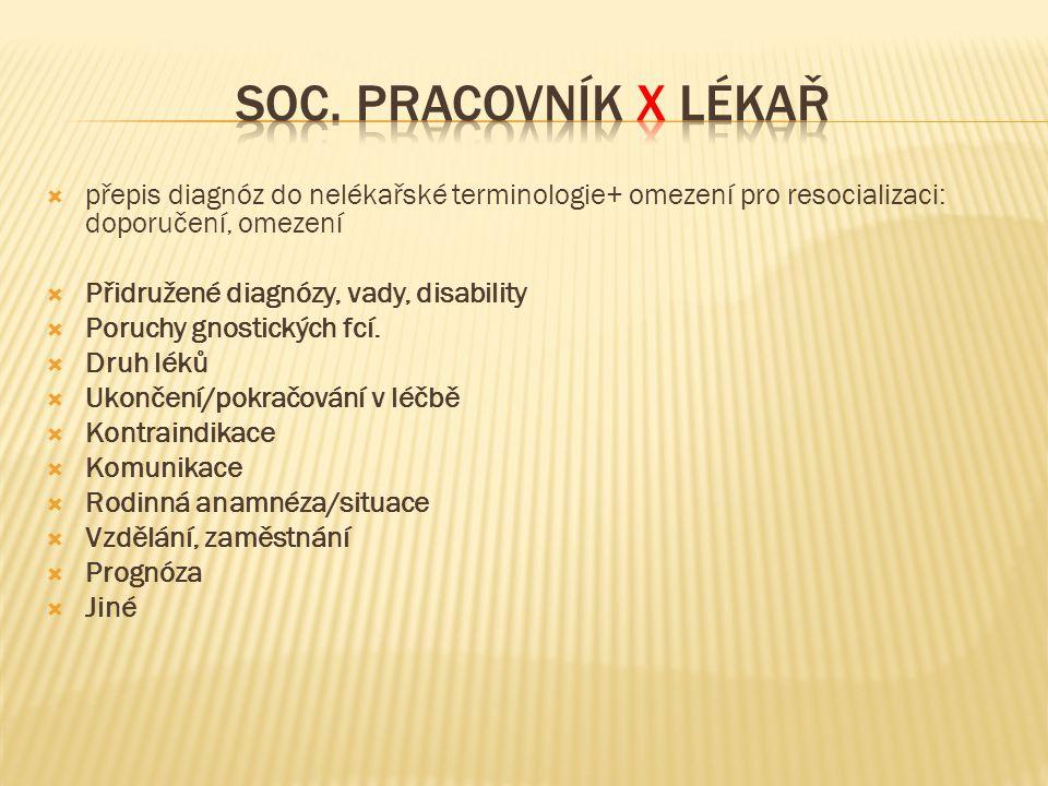 Soc. pracovník X lékař přepis diagnóz do nelékařské terminologie+ omezení pro resocializaci: doporučení, omezení.