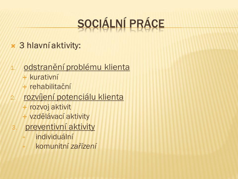 Sociální práce 3 hlavní aktivity: odstranění problému klienta