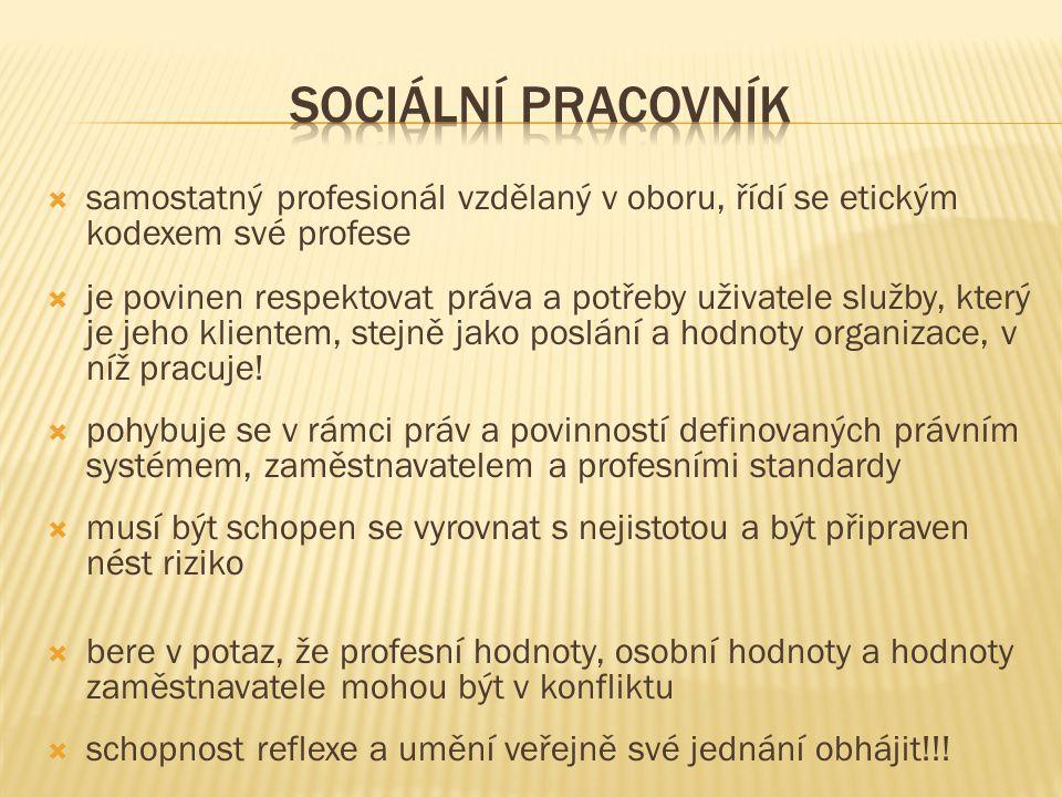 Sociální pracovník samostatný profesionál vzdělaný v oboru, řídí se etickým kodexem své profese.