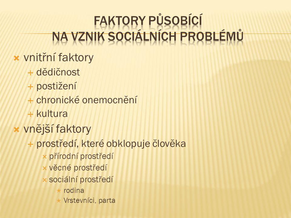 Faktory působící na vznik sociálních problémů