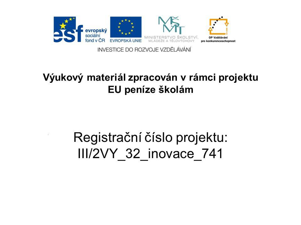 Registrační číslo projektu: III/2VY_32_inovace_741