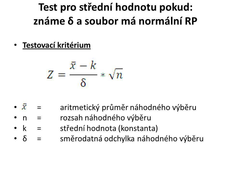 Test pro střední hodnotu pokud: známe δ a soubor má normální RP