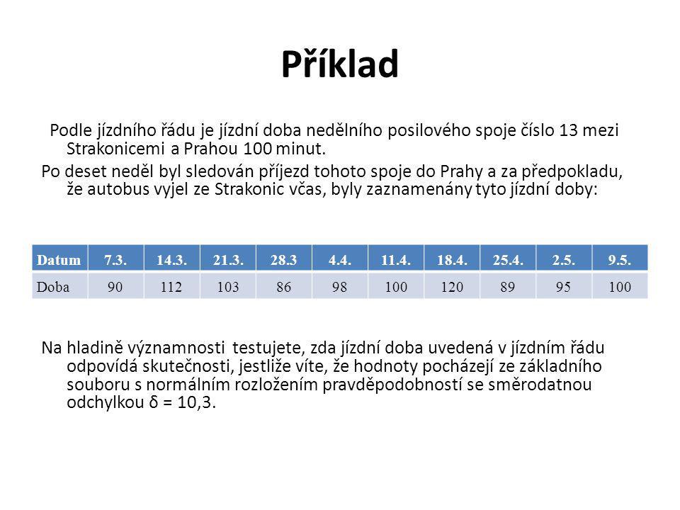 Příklad Podle jízdního řádu je jízdní doba nedělního posilového spoje číslo 13 mezi Strakonicemi a Prahou 100 minut.