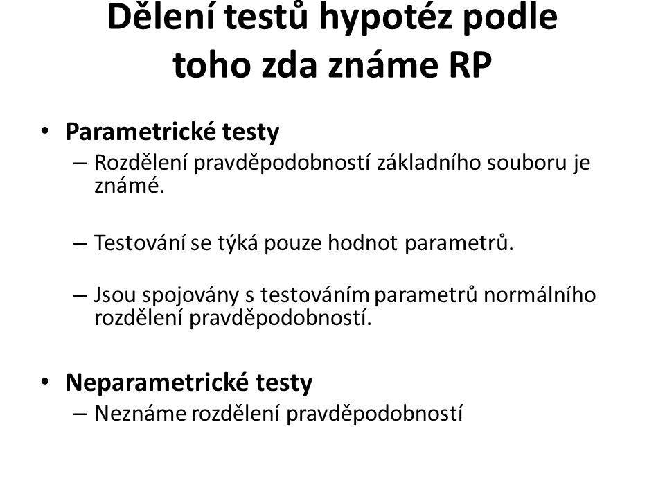 Dělení testů hypotéz podle toho zda známe RP