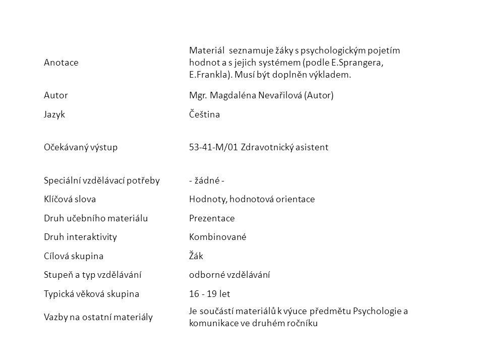 Anotace Materiál seznamuje žáky s psychologickým pojetím hodnot a s jejich systémem (podle E.Sprangera, E.Frankla). Musí být doplněn výkladem.