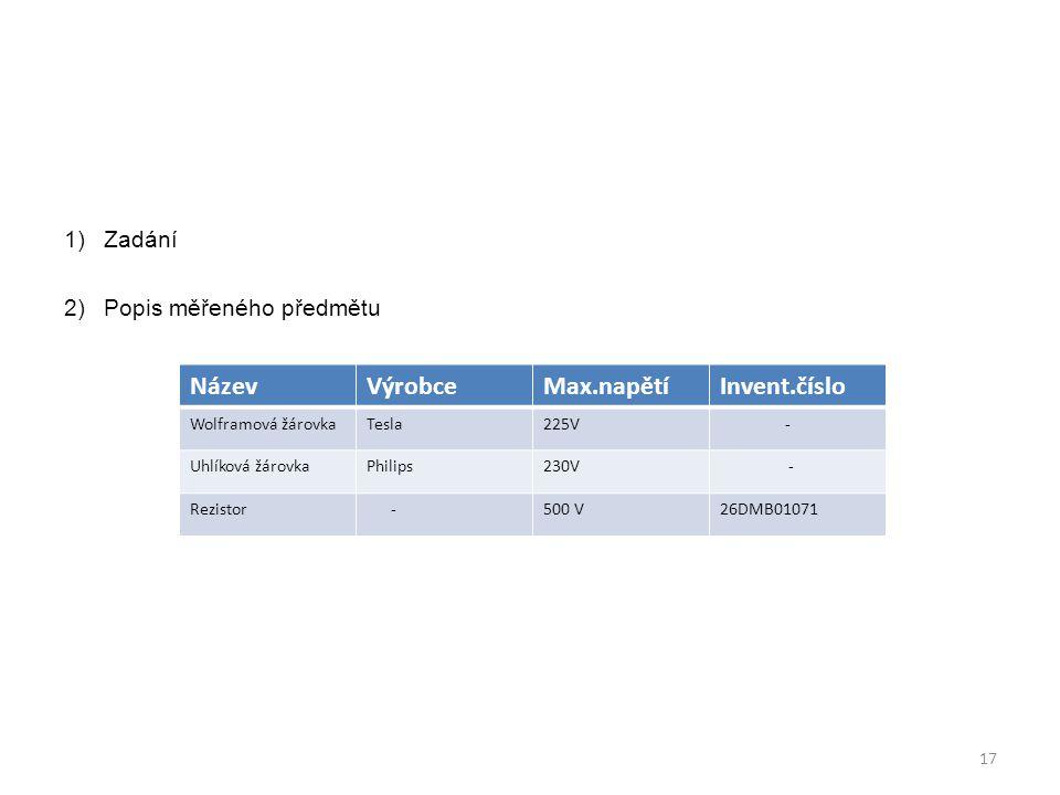 Název Výrobce Max.napětí Invent.číslo Zadání Popis měřeného předmětu
