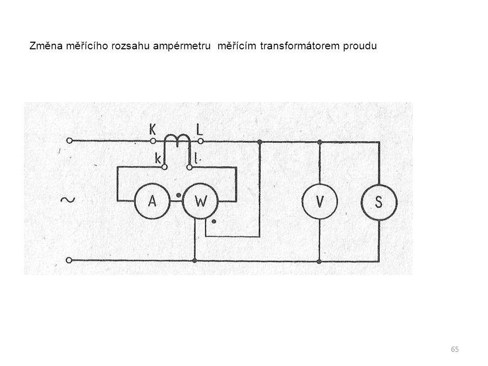 Změna měřícího rozsahu ampérmetru měřícím transformátorem proudu