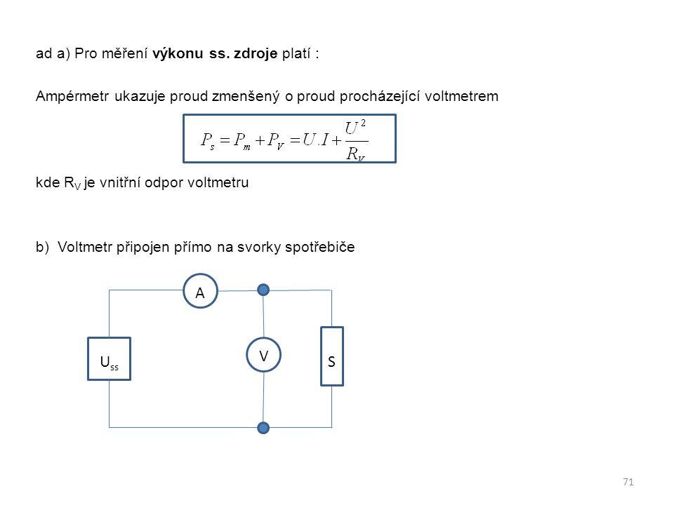 ad a) Pro měření výkonu ss