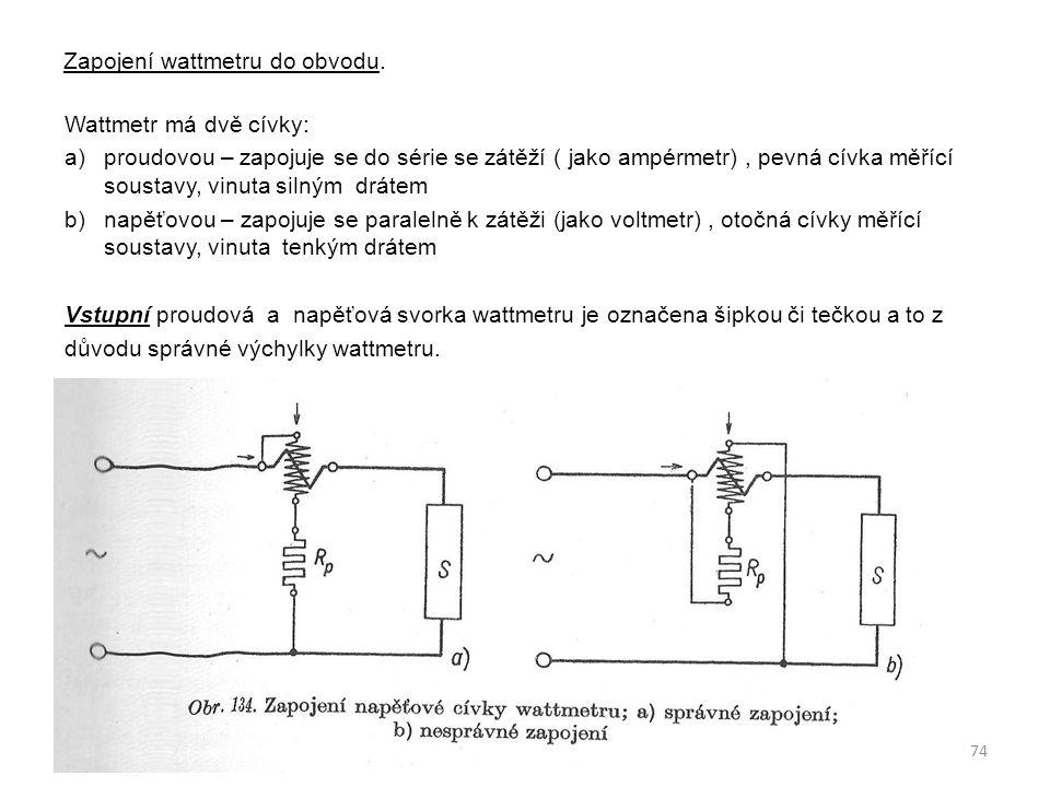Zapojení wattmetru do obvodu.
