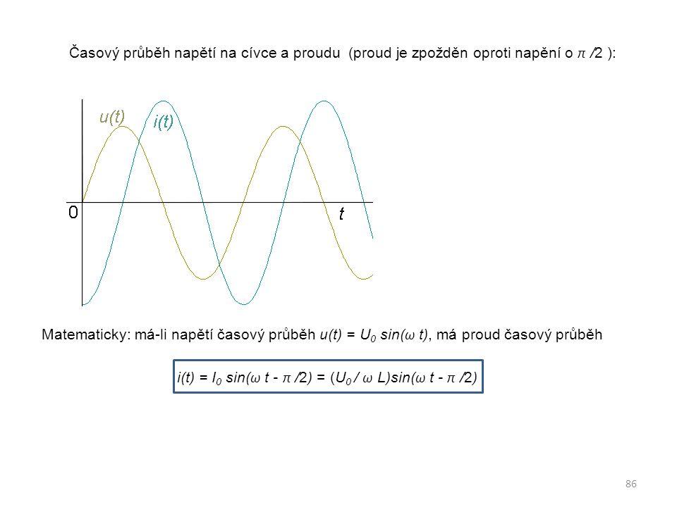 Časový průběh napětí na cívce a proudu (proud je zpožděn oproti napění o π /2 ): Matematicky: má-li napětí časový průběh u(t) = U0 sin(ω t), má proud časový průběh i(t) = I0 sin(ω t - π /2) = (U0 / ω L)sin(ω t - π /2)