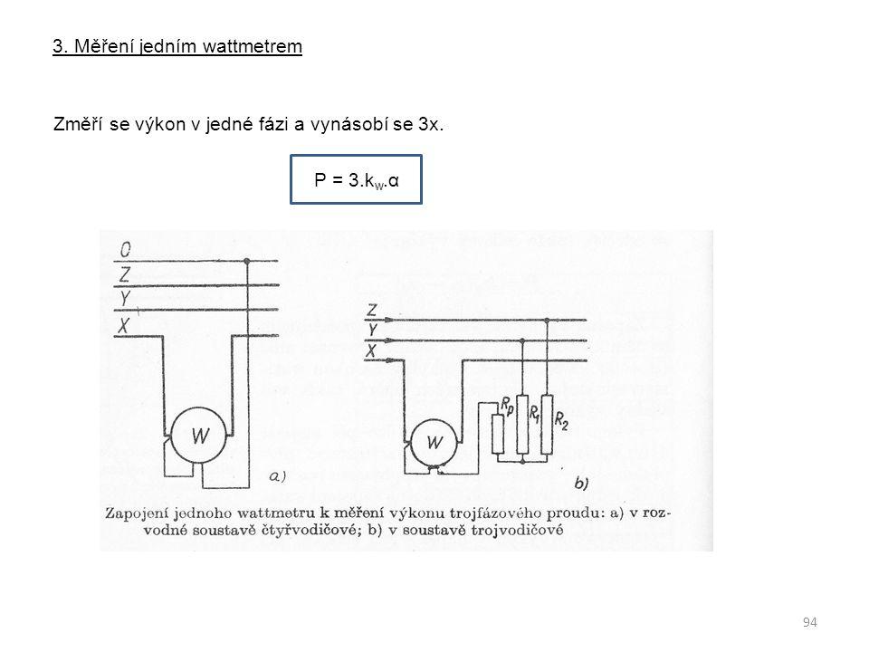 3. Měření jedním wattmetrem