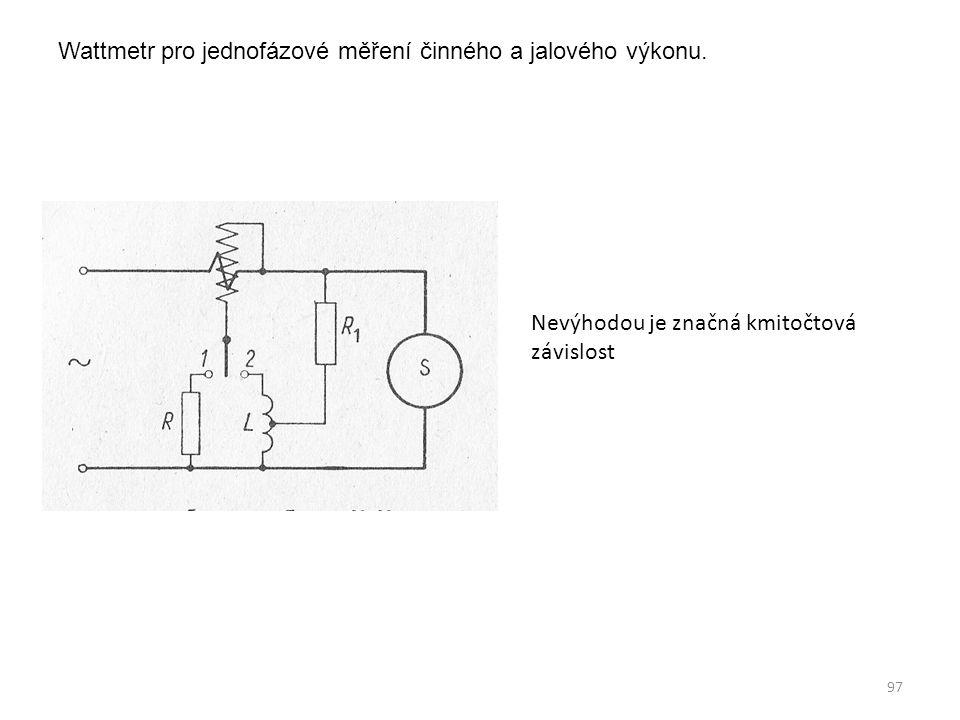 Wattmetr pro jednofázové měření činného a jalového výkonu.