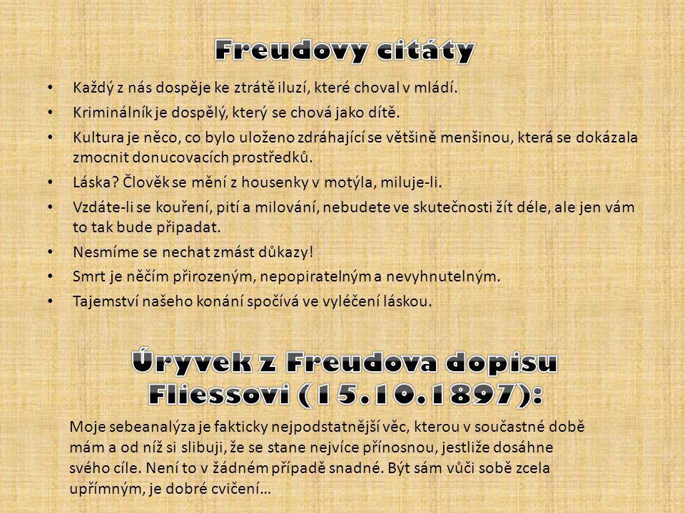 Úryvek z Freudova dopisu Fliessovi (15.10.1897):