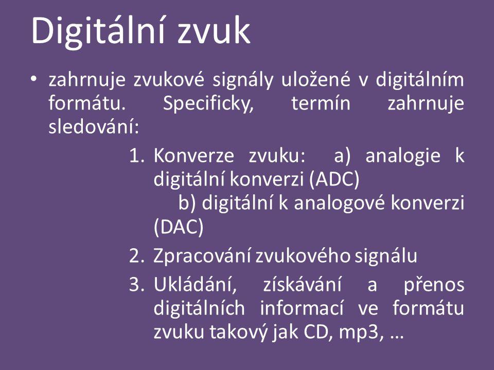 Digitální zvuk zahrnuje zvukové signály uložené v digitálním formátu. Specificky, termín zahrnuje sledování: