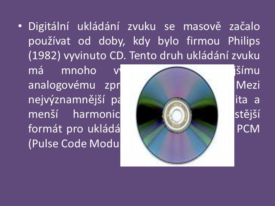 Digitální ukládání zvuku se masově začalo používat od doby, kdy bylo firmou Philips (1982) vyvinuto CD.