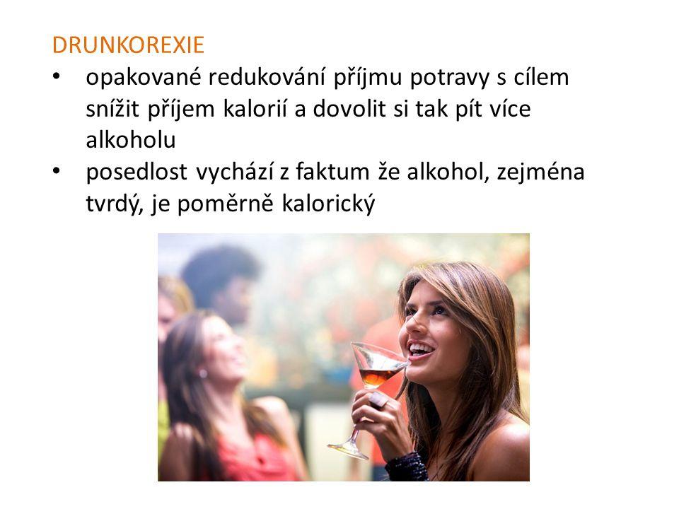 DRUNKOREXIE opakované redukování příjmu potravy s cílem snížit příjem kalorií a dovolit si tak pít více alkoholu.