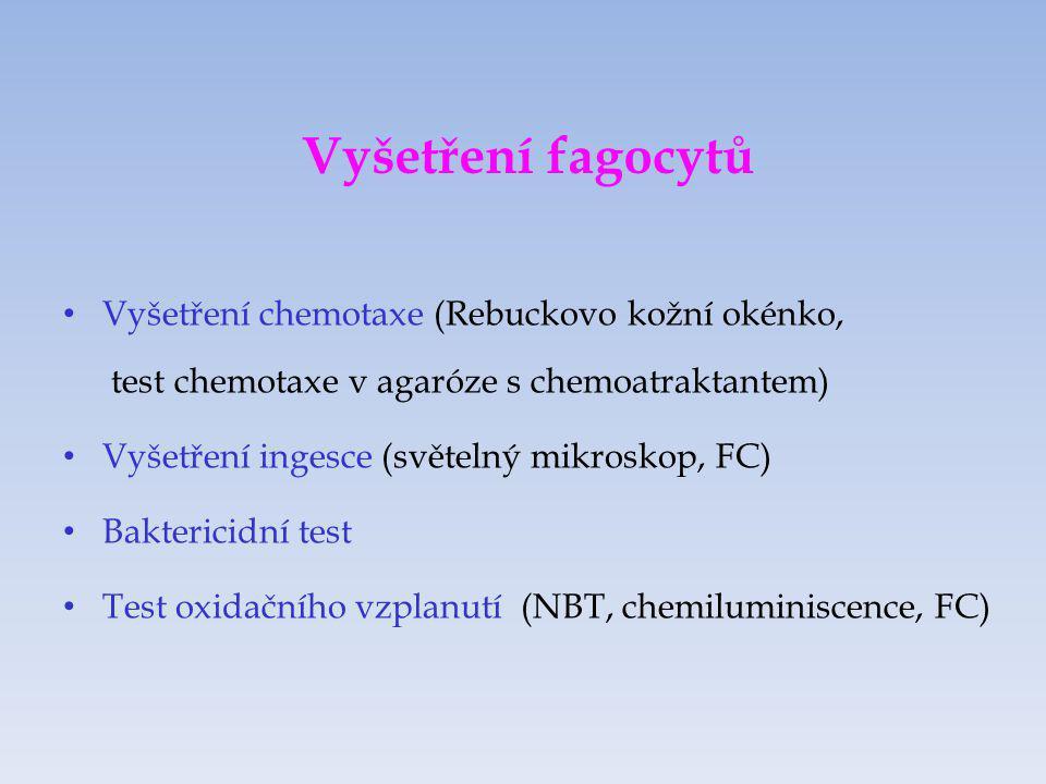 Vyšetření fagocytů Vyšetření chemotaxe (Rebuckovo kožní okénko, test chemotaxe v agaróze s chemoatraktantem)