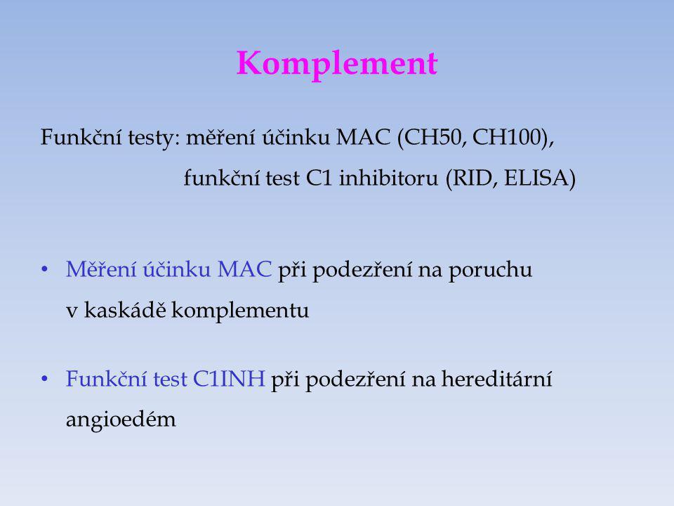 Komplement Funkční testy: měření účinku MAC (CH50, CH100), funkční test C1 inhibitoru (RID, ELISA)