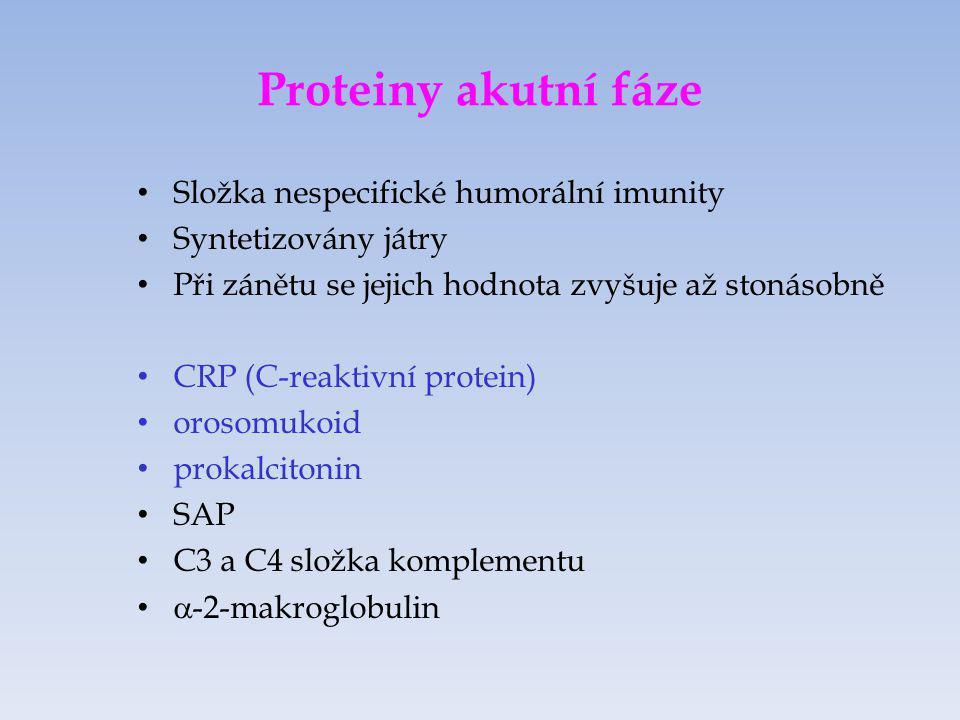 Proteiny akutní fáze Složka nespecifické humorální imunity