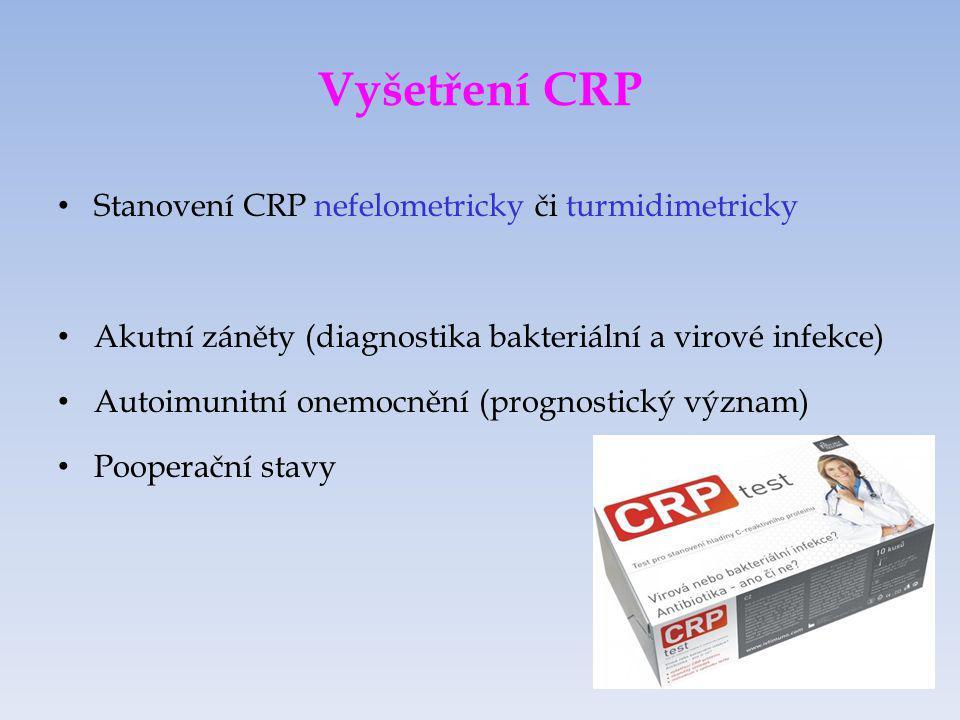 Vyšetření CRP Stanovení CRP nefelometricky či turmidimetricky