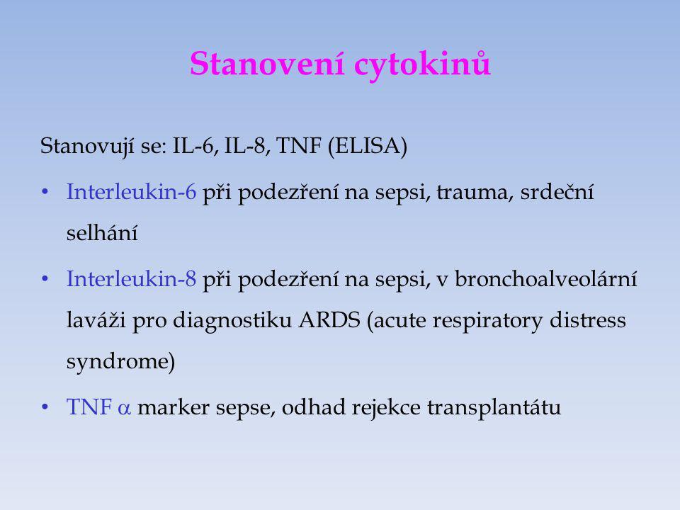 Stanovení cytokinů Stanovují se: IL-6, IL-8, TNF (ELISA)