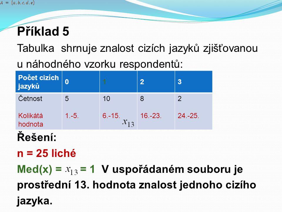Příklad 5 Tabulka shrnuje znalost cizích jazyků zjišťovanou