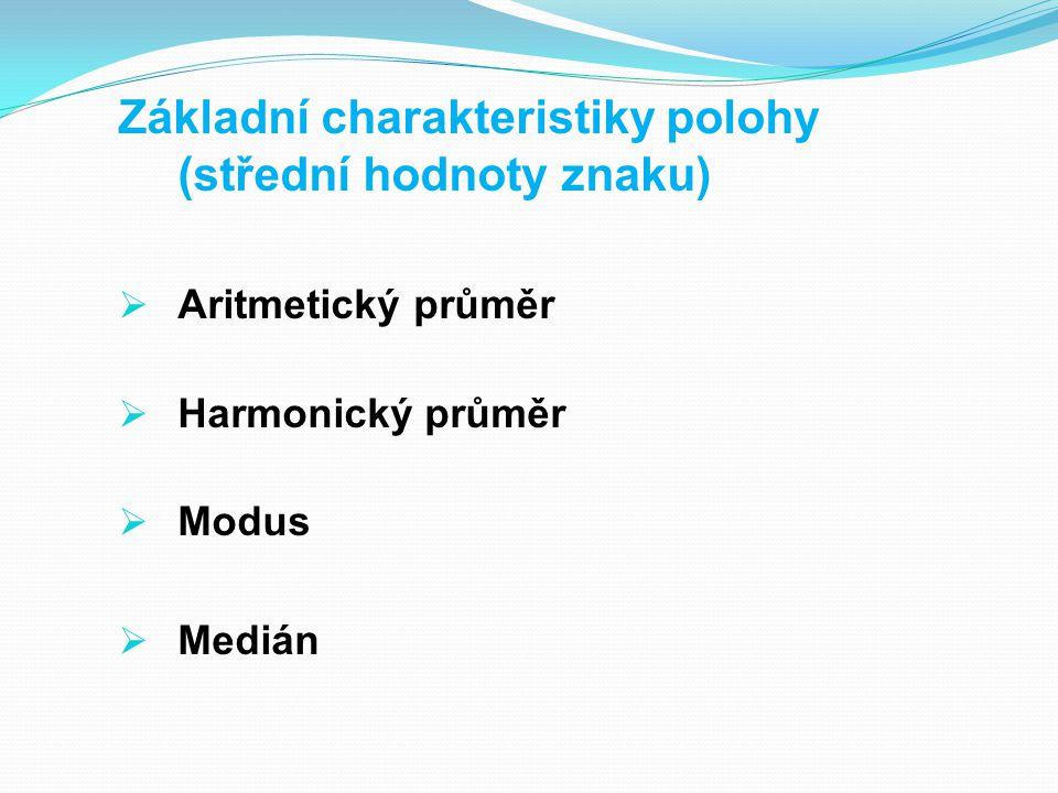 Základní charakteristiky polohy (střední hodnoty znaku)