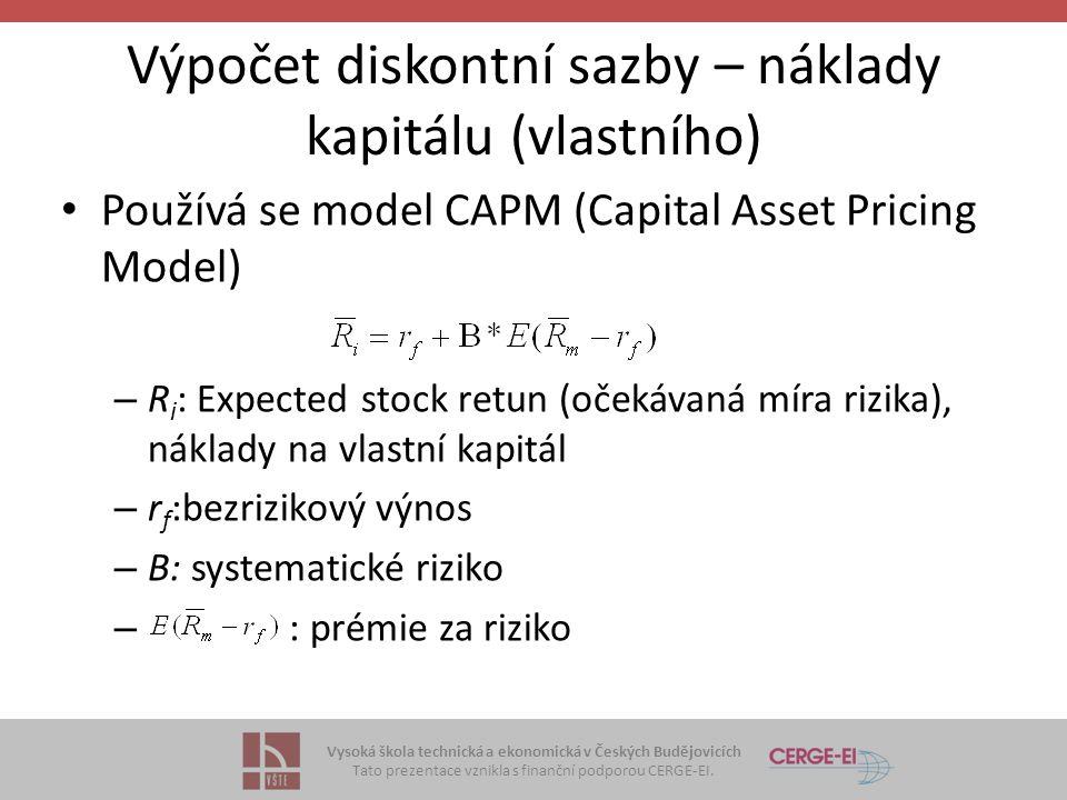 Výpočet diskontní sazby – náklady kapitálu (vlastního)