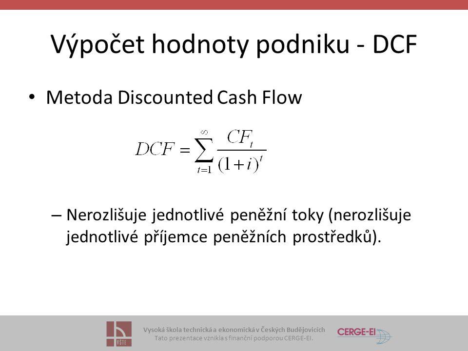 Výpočet hodnoty podniku - DCF