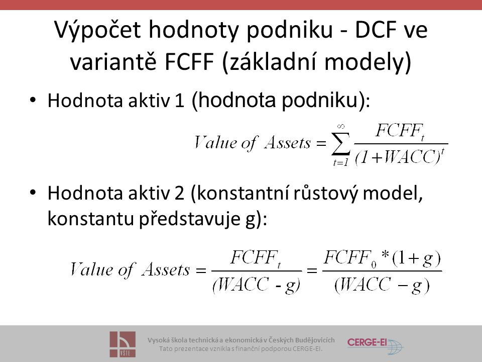 Výpočet hodnoty podniku - DCF ve variantě FCFF (základní modely)