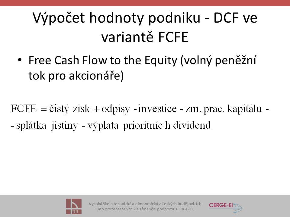 Výpočet hodnoty podniku - DCF ve variantě FCFE