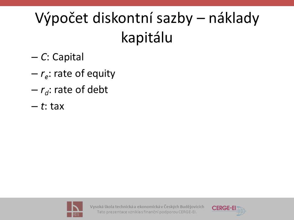 Výpočet diskontní sazby – náklady kapitálu