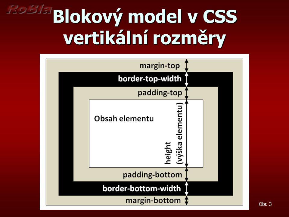 Blokový model v CSS vertikální rozměry