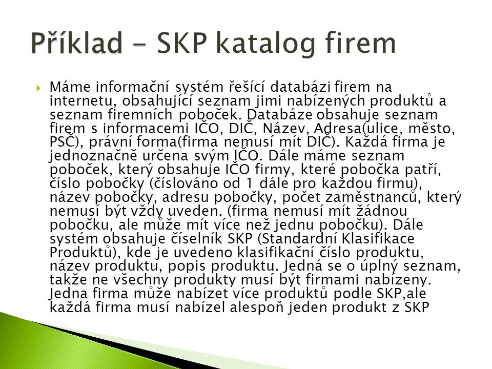 Příklad - SKP katalog firem
