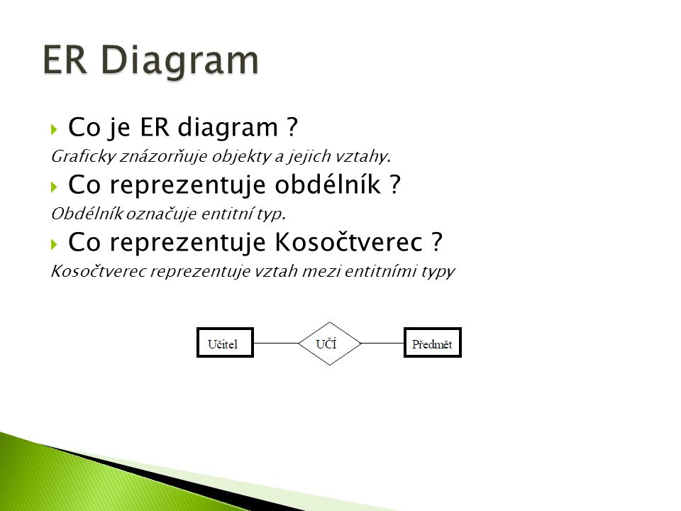 ER Diagram Co je ER diagram Co reprezentuje obdélník