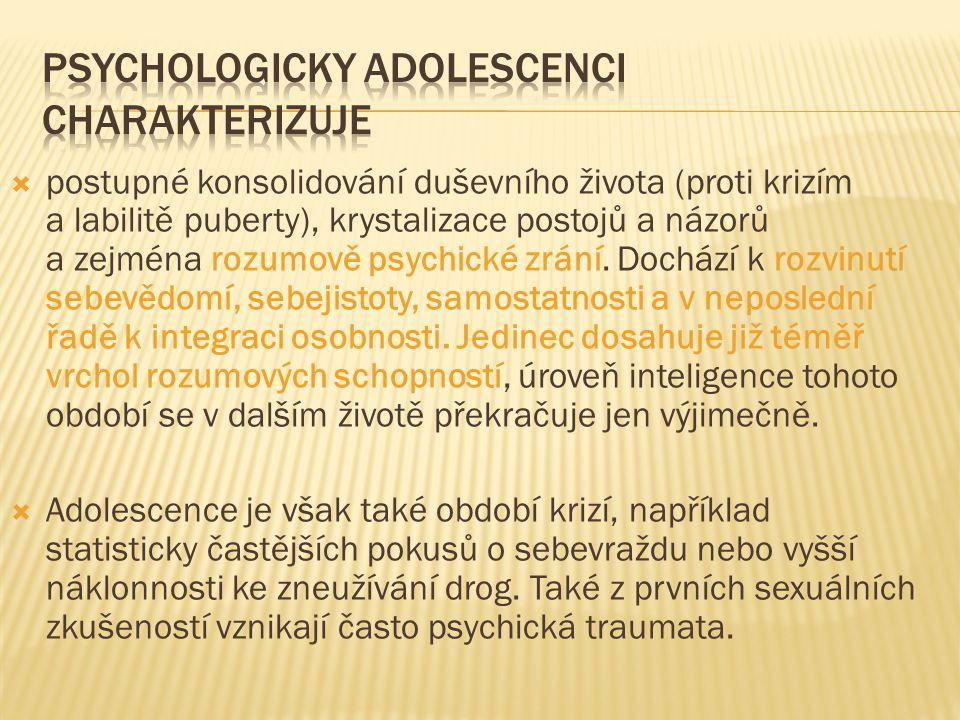 Psychologicky adolescenci charakterizuje