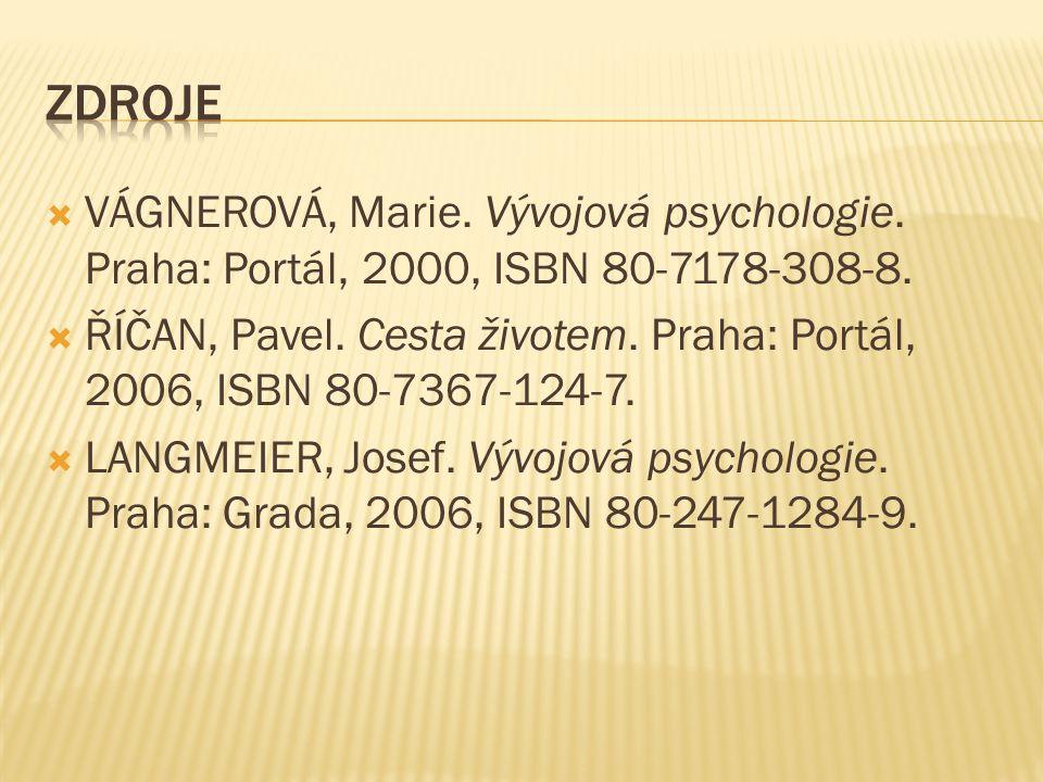 Zdroje VÁGNEROVÁ, Marie. Vývojová psychologie. Praha: Portál, 2000, ISBN 80-7178-308-8.