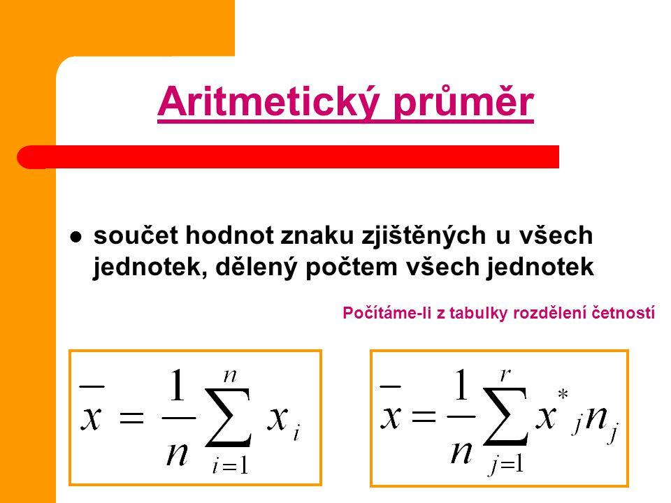 Aritmetický průměr součet hodnot znaku zjištěných u všech jednotek, dělený počtem všech jednotek.